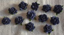 DARK NAVY BLUE Mulberry Paper Roses (only flower head)